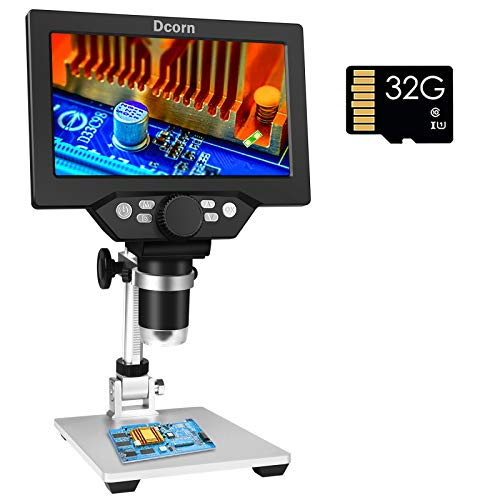 7' LCD Digital Microscope Camera with 32GB TF Card 1080P USB Video Microscopes 1200X Magnification Microscopio for Adults Kids with 8 LED Light for Coin Soldering PCB Watch Clock Repair