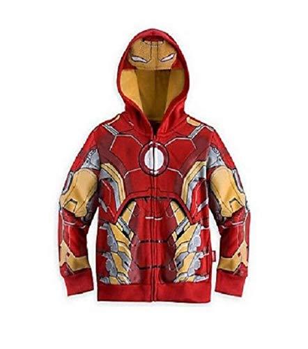 Super Heros Felpa Capitan America Kids Hulk Iron Man Giacca con zip cappotto Iron Man. 120 cm(4-5 anni)