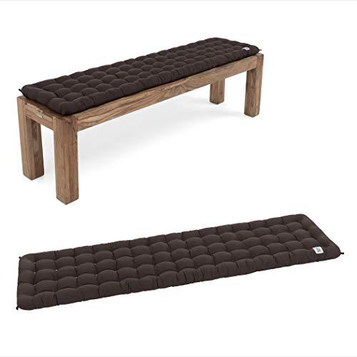 HAVE A SEAT Luxury - Bankauflage für Sitzbank, bequemes Bank Sitzpolster, waschbar bei 95°C, Pflegeleichte Sitzauflage, Made in Germany (160x40 cm, Braun)
