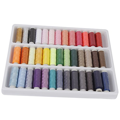 Generic Bluecell 39 Assorted Color 200 Yards Per Unit Polyester Sewing Thread Spool Set + Bluecell LCD Cleaner Stylus