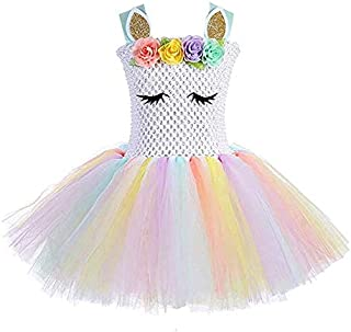 Girls Rainbow Unicorn Tutu Dress Princess Fancy Dress Birthday Pageant Party Dresses Girls Christmas Halloween Pony Cosplay Costume for Baby Girls & Kids for 3-8 Y
