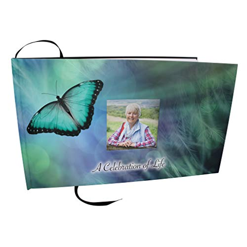 Commemorative Cremation Urns Bokeh Butterfly Themed Funeral Guest Books Celebration of Life, Funeral Guest Sign in Book, Guest Books for Memorial Service, Guestbook for Memorial Service