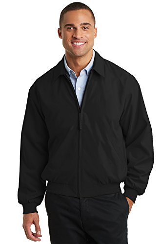 Port Authority Men's Casual Microfiber Jacket L Black/Solid Pewter Lining Iowa