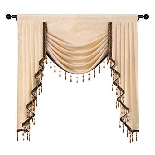 Jacquard Waterfall Valance with Luxury Beads Beige Window Curtains Valance for Living Room,Rod Pocket,1 Panel (Beige, W39)