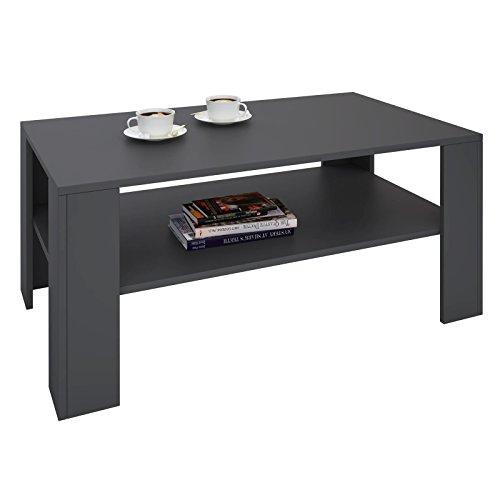 CARO-Möbel Couchtisch Wohnzimmertisch ANIMO in grau mit Ablage, 100 x 60 cm
