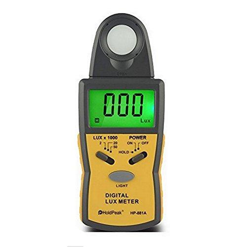 HOLDPEAK 881A Medidor Digital de Luz Lux de,Fotómetros,Luxómetro Portátil con Retención de Picos,Retención de Datos,Unidad Lux/FC, Retroiluminación y Rango de Hasta 50,000Lux(CE, ISO, ROHS, GMC)