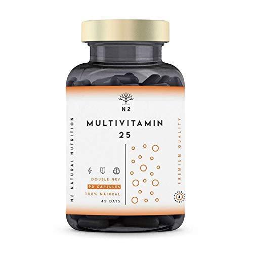 VITAMINA C y D con Zinc Magnesio Hierro. 25 Minerales y Vitaminas E B6 B12 B1. 200% del Valor Diario Recomendado. MULTIVITAMINAS, vitaminas para el cansancio. Vegano - 90 Cápsulas N2 Natural Nutrition