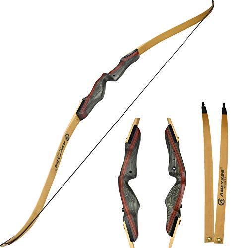 MILAEM 60 Zoll Recurve Bogen 35lbs 17 Zoll Holz Bogen Grip Holzverbund Limbs für Zielscheiben schießen und Jagd