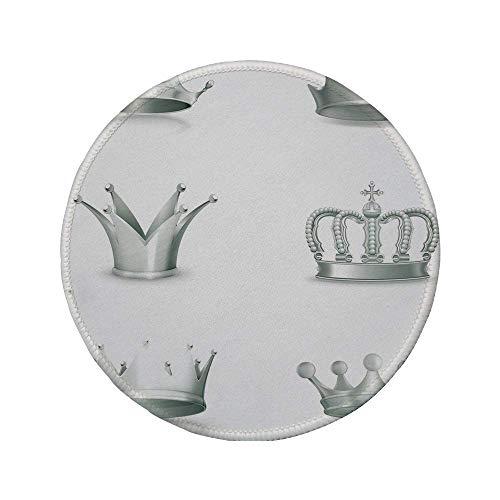 Rutschfreies Gummi-rundes Mauspad Silber verschiedene Arten antiker Kronen Queen King Imperial Theme Vintage Symbol Dekorativ Hellgrün Weiß 7,87 'x 7,87' x 3 mm