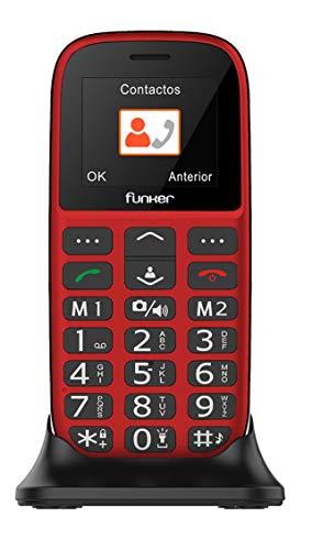 Teléfono Móvil Funker - C65 Rojo Easy Plus- para Personas Mayores con botón...