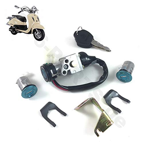 SCOOTER KEY IGNITION SWITCH LOCK ASSEMBLY SET RETRO STYLE GY6 CHINESE SCOOTER YY50QT-21 YY125T-19 - FT50QT-E FIRENZE 50 ZNEN ZN50QT-E FOSTI 50 FT50QT YIBEN TAO BMS ROKETA JMSTAR SRR WAY ETC