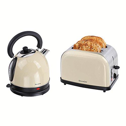 Frühstücks-Set 2 tlg Edelstahl 2-Schlitz-Toaster Wasserkocher 1,8 Liter im Vintage-Design (Teekessel, Retro, 50er Jahre-Stil, Kabellos, Kalkfilter, Beige)
