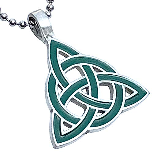 St Patricks Jewelry Elemental Green Celtic Triquetra Trinity Knot Norse Viking Pagan Magic Wicca Wiccan Witch Protection Amulet Pewter Pendant Necklace Charm for men women w Silver Ball chain