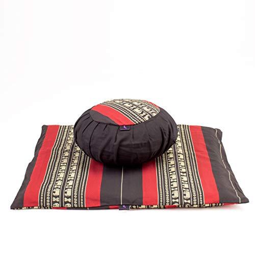 Leewadee Set de meditación con Funda – Cojín Zafu y colchoneta Zabuton de meditación y Yoga, Asiento tailandés de kapok Natural, Set de 2, Negro Rojo