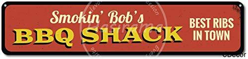 niet roken BBQ Shack Beste Ribs In Stad Tin Muurbord Metalen Retro Poster Iron Waarschuwingsborden Vintage Opknoping Art Plaque Yard Garden Cafe Bar Pub Openbaar Gift 16X4 Inch