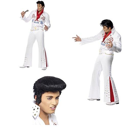 Elvis Presley American Adler Kostüm Erwachsene Overall mit Gürtel und Schal Las Vegas The King Stag Do With/Without Quiff Perücke und Side Burns (Elvis Jumpsuit und Perücke)
