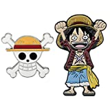 OYSTERBOY One Piece Anime 2pcs Enamel Pin Set Luff & Luffy's Straw Hat Pirates Jolly Roger Cosplay Cute Zinc Alloy Brooches Pin for SchoolBags Backpacks Shirts Hoodie Jeans Jackets Clothing Gifts