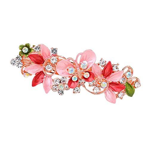 Goodluvk28 Épingle à Cheveux pour Femme – Femme Fille incrustée de Strass Fleur Papillon Pince à Cheveux Barrette à Cheveux pour Les Amis ou la Famille Taille Unique Rose Rouge