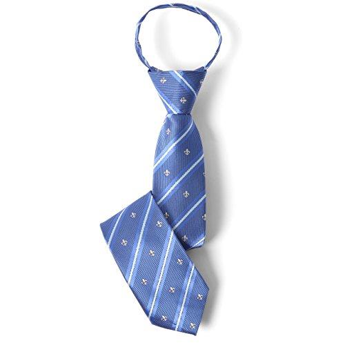 [エムエイチエー] M.H.A.style ネクタイ 子供用 ワンタッチ (簡単装着) 男の子 キッズ ジュニア ユリの紋章 男子 30523 C.ブルー