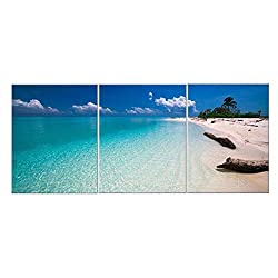 Canvas Wall Art Blue Sky Sea Beach Sands - 3 Pieces Contemporary Pictures Canvas Painting Modern Artwork for Home Decoration Framed Ready to Hang