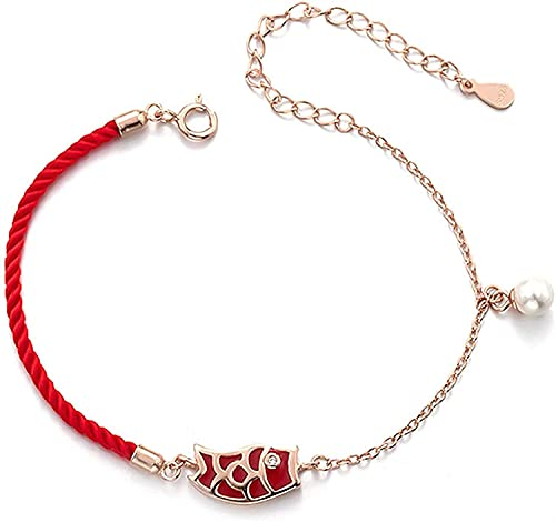 Pulsera suerte, Pulsera de riqueza Pulsera Lucky Feng Shui Wealth Bracelets Pulsera de la cadena de plata esterlina Pescado termocrómico Colgante Pearl Bead Red Rojo Pulsera Pulsera Ajustable Atraer d
