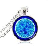 Estilo colgante azul espacial collar Novela chapado cadena collar de cristal cúpula galaxia colgante planeta declaración collares nebulosa mujeres sin cuello