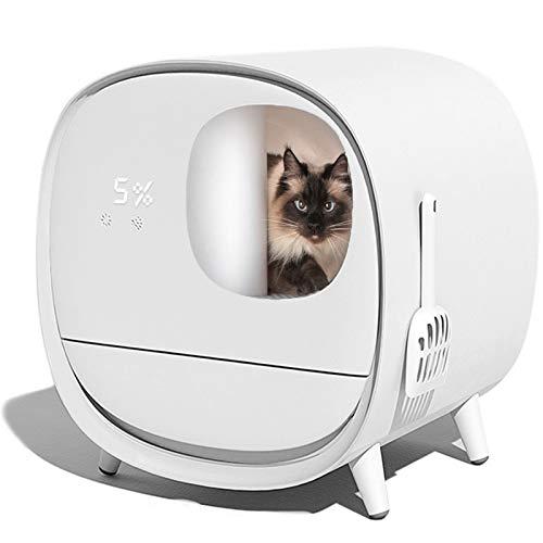 FengJ Automatico Autopulente Lettiera for Gatti Completamente Chiuso Pulitore Elettrico Smart Cat Toilette con Deodorante for Peso e Pulizia del Gatto,Bianca