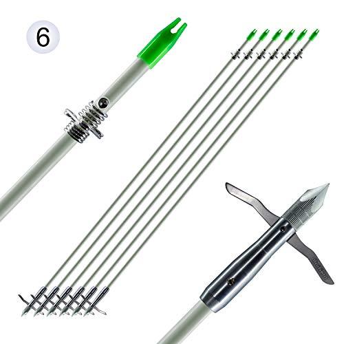 "Maifield Bowfishing Head 2 Mechanical barbs 2.5"" Holding Area Archery Broadhead Fits 5/16"" Fiberglass Arrow Shaft (6pcs per Pack)"