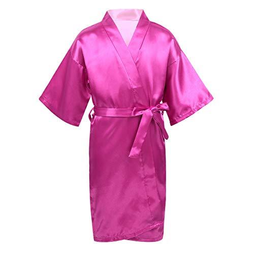 inhzoy Albornoces Kimono de Satén para Niña Bata de Dormir para SPA Fiesta Cumpleaños Camisón Verano Ropa de Noche Rosa Roja 8-10 años