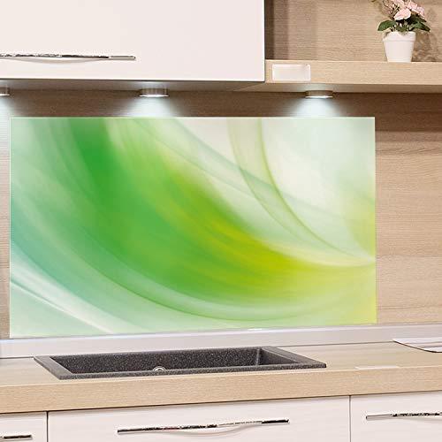 GRAZDesign Küchen-Spritzschutz Glas, Bild-Motiv Grün Ornamente, Glasbild als Küchenrückwand - Küchenspiegel / 60x60cm