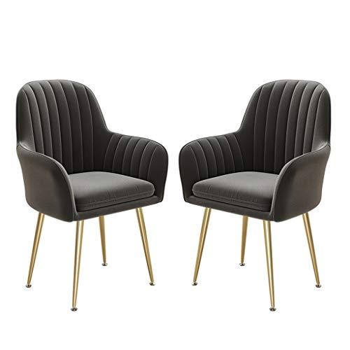 Muebles Conjunto de 2 sillas de comedor Sillas de acento para sala de estar, silla de invitados Tela de terciopelo Sillón de asiento acolchado ergonómico con patas de metal de oro Estilo escandinavo