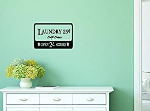 """Design with Vinyl Moti 1348 1 Laundry 5 Cent Self Serve Open Sign Housekeeping Peel & Stick Wall Sticker Decal, 10"""" x 16"""", Black"""