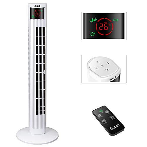 Gotoll Ventilatore a Torre Bianco 96CM con Telecomando,Ventilatori a Piantana 50W,Oscillazione 70°,3 Velocità,3 Modalità Operative,15 H Timer,Display LED (BIANCO-95.5CM)