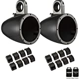 Kicker KMTES8B Black 8' Empty Wake Tower/Roll Bar Enclosures with KMTAP Adapter Pack for UTVs