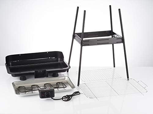 Korona 46221 Barbecue électrique sur pied avec grille XXL (51 x 30 cm)   2200 W   Protection contre le vent   Témoin lumineux   Interrupteur de sécurité   Réglage en continu de la température