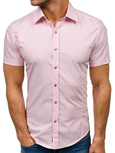 BOLF Herren Kurzarm Hemd Elegant Figurbetont Unifarbe Basic Slim Fit 7501 Rosa L [2B2]