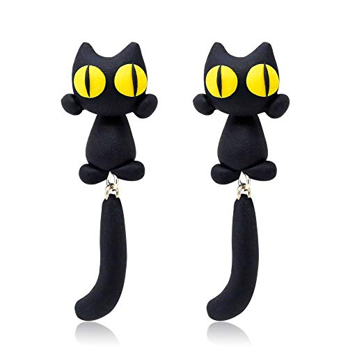 SMXGF 30 Merk Polymer Clay Gele Ogen kat oorbellen Cartoon Animal Stud oorbellen for vrouwen Girl oor sieraden Brincos