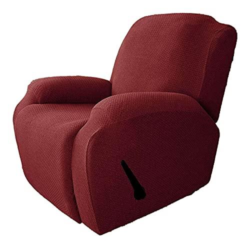 CLGTY Funda De Sillón Relax Elástica, 4 Piezas Jacquard Spandex Funda De Silla Reclinable Antideslizante Funda De Sillón Lavable Protector De Muebles para Sala De Estar-Vino Rojo-Sillón reclinable