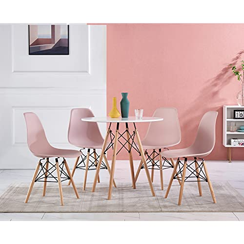 ZOONFA Dining Table with Chairs Set of 4 White Plastic Chair Round Dining Table Kitchen Modern Rectangle Kitchen Lounge Wood Style Dining Room Sets (Pink, 80 x 80 cm)