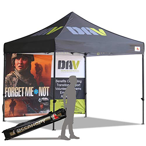 ABCCANOPY Deluxe Frame Custom Made 10x10 Ez Pop up Canopy Custom Graphics Tent with Back Wall Bouns 4X Weight Bag