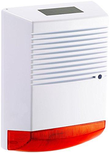 VisorTech Alarmanlage Atrappe: Alarmsirenen Attrappe mit Solar & Blinklicht, IP44 (Alarmanlage Attrappe)