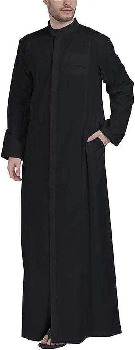 Men's Muslim Clothing Solid Color Jubba Thobe Long Sleeve Stand Collar Robe Dubai Middle East Islamic Arab Kaftan