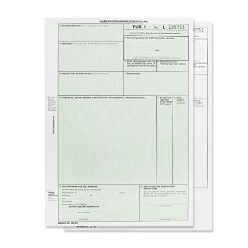 mashpaper EUR.1 / EUR1 Warenverkehrsbescheinigung Formular 50 Stück für Laserdrucker