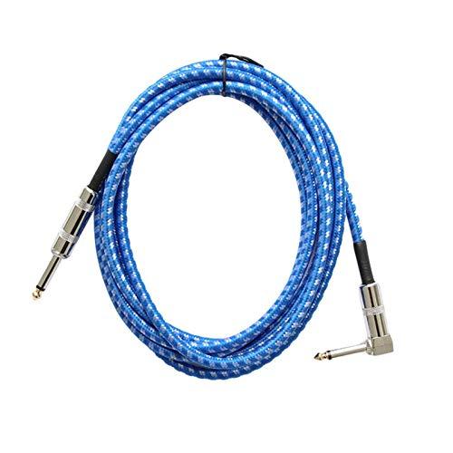 lossomly Cable de guitarra de 3 m, cable de instrumento de 6,5 mm, protección contra el ruido, con conector acodado y 1 cable jack estándar para guitarra eléctrica, bajo, teclado