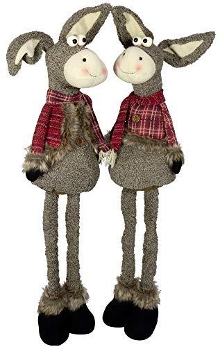 Christmas Paradise Deko-Figur Weihnachtsdeko Esel Ausziehbare Beine 2er Set Dekoration 2 Designs Maultier 60-105cm Rot