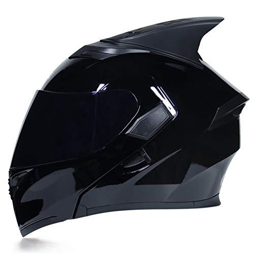 Cascos De Moto Casco Completo Cara Abatible Aleta De Tiburón para/Modular Moto Casco Forro Interior Visera Parasol Seguridad/Double Lente Racing