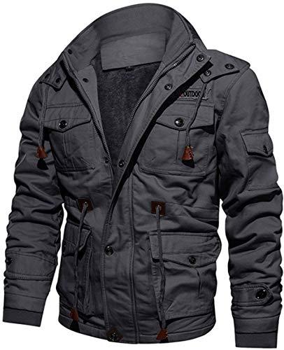 TACVASEN Herren Winter Jacke Outdoorjacke Parka Arbeitsjacke Gefütterte Dicke Fleece Mantel Windabweisend mit vielen Taschen und Kapuze, Grau