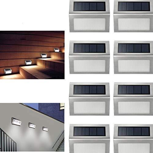 Louvra Lampe Solaire Exterieur 8 Pcs Lumière De Sécurité Panneau Solaire Amélioré Led Eclairage Solaire Extérieur Pour Jardin Garage Cour Maison Escalier Patio Allée Marche