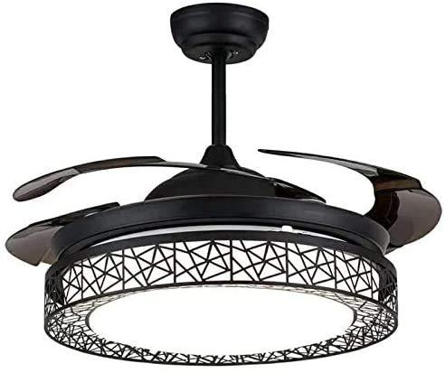 LDDYJH Ventilador de Techo con iluminación y Control Remoto, Ventilador de Techo Negro, 3 Colores de Ventilador Interior, lámpara Plegable, Ultra silencioso Ventilador LED lámpara de Techo,Black