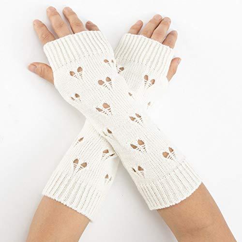 Huasho Winter Frauen Lange warme Ärmel Fäustlinge weibliches Herz Acryl Stretch Knit Half Finger...